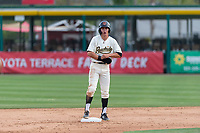 Visalia Rawhide center fielder Jake McCarthy (31) stands on second base during a game against the Rancho Cucamonga Quakes at Rawhide Ballpark on April 8, 2019 in Visalia, California. (Zachary Lucy/Four Seam Images)