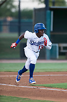 AZL Dodgers right fielder Rolando Lebron (13) hustles down the first base line during an Arizona League game against the AZL White Sox at Camelback Ranch on July 3, 2018 in Glendale, Arizona. The AZL Dodgers defeated the AZL White Sox by a score of 10-5. (Zachary Lucy/Four Seam Images)