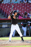 Jose Cardona (8) of the High Desert Mavericks bats against the Rancho Cucamonga Quakes at Heritage Field on August 7, 2016 in Adelanto, California. Rancho Cucamonga defeated High Desert, 10-9. (Larry Goren/Four Seam Images)