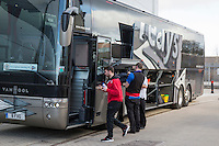 Pizza is delivered to the Accrington Stanley team coach following their victory in the Sky Bet League 2 match between Newport County and Accrington Stanley at Rodney Parade, Newport, Wales on 28 March 2016. Photo by Mark  Hawkins.