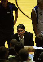 Stars coach Kenny Stone talks to his team during a timeout during the NBL Round 14 basketball match between the Wellington Saints and Auckland Stars at TSB Bank Arena, Wellington, New Zealand on Thursday 29 May 2008. Photo: Dave Lintott / lintottphoto.co.nz