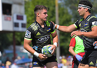 Jonah Lowe (right) congratulates Fletcher Smith on his try during the Super Rugby preseason match between the Hurricanes and Crusaders at Levin Domain in Levin, New Zealand on Saturday, 2 February 2019. Photo: Dave Lintott / lintottphoto.co.nz