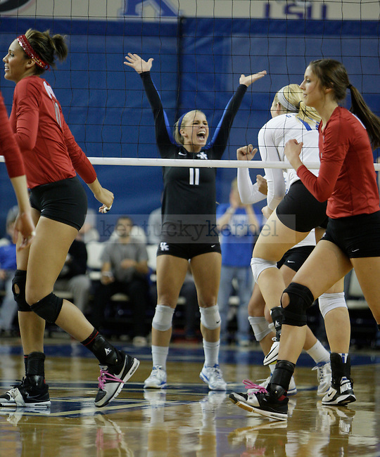 Senior Stephanie Klefot (11) celebrates after a point during the UK women's volleyball game v. Ohio University during the second round of the NCAA tournament in Memorial Coliseum in Lexington, Ky., on Saturday, December 1, 2012. Photo by Genevieve Adams | Staff