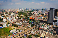 Aerial view of highway leading into Bankok, Thailand
