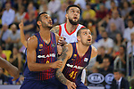 League ACB-ENDESA 2017/2018. Game: 1.<br /> FC Barcelona Lassa vs Baskonia: 87-82.<br /> Adam Hanga, Vincent Poirier &amp; Adrien Moerman.
