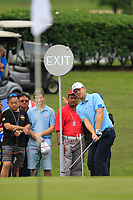 Bernd Wiesberger (Europe) chips onto the 17th green during the Saturday Foursomes of the Eurasia Cup at Glenmarie Golf and Country Club on the 13th January 2018.<br /> Picture:  Thos Caffrey / www.golffile.ie