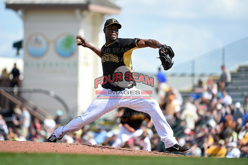 Pittsburgh Pirates pitcher Radhames Liz (58) during a Spring Training game against the Minnesota Twins on March 13, 2015 at McKechnie Field in Bradenton, Florida.  Minnesota defeated Pittsburgh 8-3.  (Mike Janes/Four Seam Images)