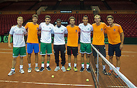 11-sept.-2013,Netherlands, Groningen,  Martini Plaza, Tennis, DavisCup Netherlands-Austria, Practice, Footbal Club FC Groningen is visiting the Dutch Daviscup team, Ltr: Lingren, Haase,Bottaghin,Zeefuik,Rojer,Ekong, de Bakker and Huta Galung<br /> Photo: Henk Koster