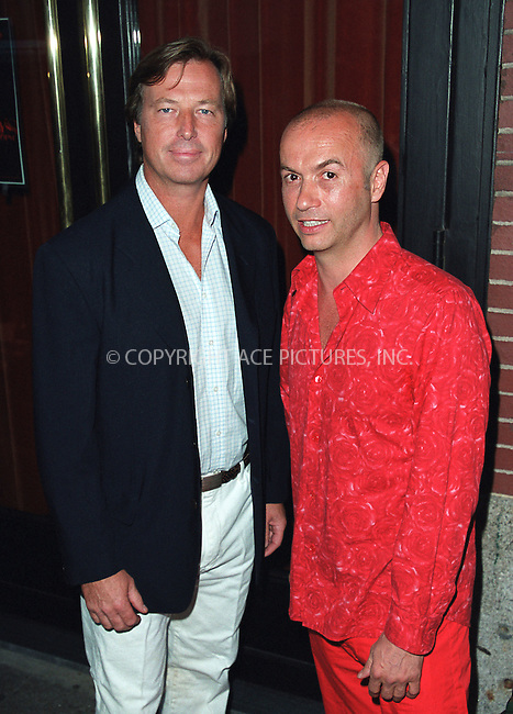 Restauranter and co-owner of Man Ray, Thierry Klemenuiek (R) with his partner, at the party celebration of the first anniversary of his club Man Ray. New York, July 10, 2002. Please byline: Alecsey Boldeskul/NY Photo Press.   ..*PAY-PER-USE*      ....NY Photo Press:  ..phone (646) 267-6913;   ..e-mail: info@nyphotopress.com