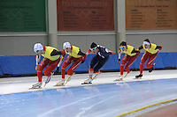 SCHAATSEN: SALT LAKE CITY: Utah Olympic Oval, 12-11-2013, Essent ISU World Cup, training, Wannes van Praet (BEL), Bart Swings (BEL), Ewen Fernandez (FRA), Maarten Swings (BEL), Ferre Spruyt (BEL), ©foto Martin de Jong