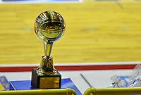 BOGOTÁ -COLOMBIA. 07-06-2014. Aspecto del trofeo de campeón en el cuarto juego entre Guerreros de Bogotá y Cimarrones del Chocó por los playoffs finales de la  Liga DirecTV de Baloncesto 2014-I de Colombia realizado en el coliseo El Salitre de Bogotá./ Aspect of the trophy of Champion on the fourth match between Guerreros de Bogota and Cimarrones del Choco for the playoffs finals of the DirecTV Basketball League 2014-I in Colombia played at El Salitre coliseum in Bogota. Photo: VizzorImage/ Gabriel Aponte / Staff