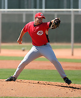 Josh Smith #63 of the Cincinnati Reds plays in a minor league spring training game against the Cleveland Indians at the Reds complex on March 26, 2011 in Goodyear, Arizona.  .Photo by:  Bill Mitchell/Four Seam Images.