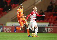 Blackpool's Curtis Tilt and Alister Crawford <br /> <br /> Photographer Rachel Holborn/CameraSport<br /> <br /> The EFL Sky Bet League One - Doncaster Rovers v Blackpool - Tuesday 27th November 2018 - Keepmoat Stadium - Doncaster<br /> <br /> World Copyright &copy; 2018 CameraSport. All rights reserved. 43 Linden Ave. Countesthorpe. Leicester. England. LE8 5PG - Tel: +44 (0) 116 277 4147 - admin@camerasport.com - www.camerasport.com