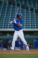 AZL Cubs 1 Yovanny Cuevas (24) at bat during an Arizona League game against the AZL Padres 1 on July 5, 2019 at Sloan Park in Mesa, Arizona. The AZL Cubs 1 defeated the AZL Padres 1 9-3. (Zachary Lucy/Four Seam Images)