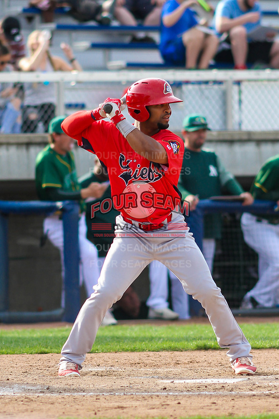 Peoria Chiefs second baseman J.R. Davis (30) at bat during a Midwest League game against the Beloit Snappers on April 15, 2017 at Pohlman Field in Beloit, Wisconsin.  Beloit defeated Peoria 12-0. (Brad Krause/Four Seam Images)