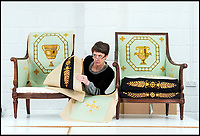 BNPS.co.uk (01202 558833)<br /> Pic: PhilYeomans/BNPS<br /> <br /> Conservator Emma Telford with a restored chair and its part finished pair.<br /> <br /> Seat of Power - The First Duke of Marlborough&rsquo;s campaign chairs, upon which he sat to plot the downfall of the French King Louis XIV, are returning to Blenheim Palace following an 18-month restoration.<br />