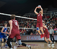 STANFORD, CA - March 2, 2019: Paul Bischoff, Kyler Presho, Jordan Ewert at Maples Pavilion. The Stanford Cardinal defeated BYU 25-20, 25-20, 22-25, 25-21.