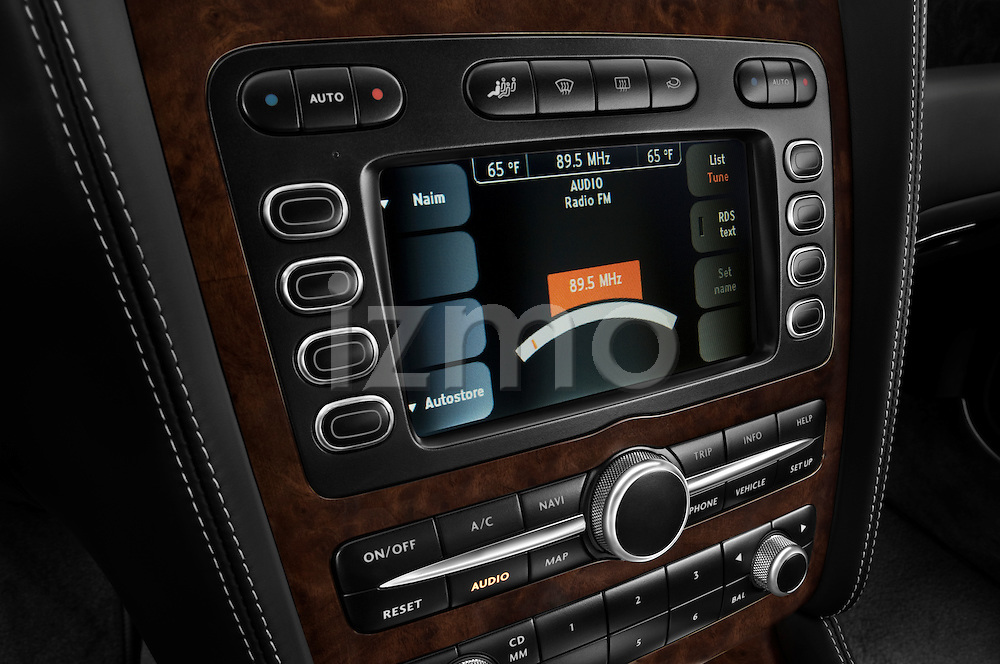 Stereo audio system close up detail view of a 2008 - 2012 Bentley Continental GT Speed Coupe.