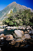 Cleddau river with Mount Isolation in the distance, Fiordland National Park, South Island, New Zealand.