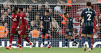 Manchester City's Riyad Mahrez rues a missed opportunity after lifting his late penalty effort high over the Liverpool goal<br /> <br /> Photographer Rich Linley/CameraSport<br /> <br /> The Premier League - Liverpool v Manchester City - Sunday 7th October 2018 - Anfield - Liverpool<br /> <br /> World Copyright &copy; 2018 CameraSport. All rights reserved. 43 Linden Ave. Countesthorpe. Leicester. England. LE8 5PG - Tel: +44 (0) 116 277 4147 - admin@camerasport.com - www.camerasport.com