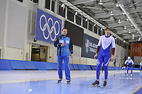 SPEED SKATING: SALT LAKE CITY: 18-11-2015, Utah Olympic Oval, ISU World Cup, training, Dmitry Dorofejev (trainer/coach), Pavel Kulizhnikov (RUS), ©foto Martin de Jong