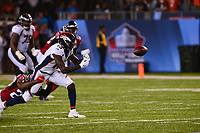 Canton, Ohio - August 1, 2019: Denver Broncos wide receiver Steven Dunbar #13 misses a catch as Atlanta Falcons defensive back Kendall Sheffield #20 attempots to tackle during pre-season game at the Tom Benson Hall of Fame stadium in Canton, Ohio August 1, 2019. This game marks start of the 100th season of the NFL. (Photo by Don Baxter/Media Images International)