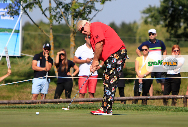 John Daly (USA) on the 18th green during Round 2 of the D&amp;D Real Czech Masters 2016 at the Albatross Golf Club, Prague on Friday 19th August 2016.<br /> Picture:  Thos Caffrey / www.golffile.ie<br /> <br /> All photos usage must carry mandatory copyright credit   (&copy; Golffile | Thos Caffrey)