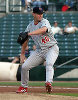 August 21, 2003:  Pitcher Brian Powell of the Scranton Wilkes-Barre Red Barons, Class-AAA affiliate of the Philadelphia Phillies, during a International League game at Frontier Field in Rochester, NY.  Photo by:  Mike Janes/Four Seam Images