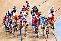 Picture by Alex Whitehead/SWpix.com - 05/03/2016 - Cycling - 2016 UCI Track Cycling World Championships, Day 4 - Lee Valley VeloPark, London, England - Great Britain's Laura Trott and other Women's Omnium riders in action during the Scratch race.