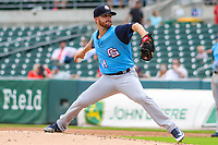 Colorado Springs Sky Sox pitcher Bubba Derby (11) delivers a pitch between innings during a Pacific Coast League game against the Iowa Cubs on June 23, 2018 at Principal Park in Des Moines, Iowa. Colorado Springs defeated Iowa 4-2. (Brad Krause/Four Seam Images)