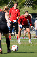 Hope Solo, Rachel Buehler. The USWNT practice at WakeMed Soccer Park in preparation for their game with Japan.