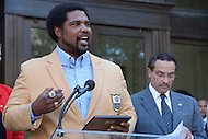 September 20, 2013  (Washington, DC)  NFL Hall of Fame inductee and native Washingtonian Jonathan Ogden speaks after receiving the key to the city from Mayor Vincent Gray.  (Photo by Don Baxter/Media Images International)