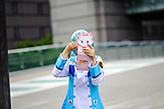 JUNE 12, 2016 -  A cosplayer checks her makeup before a photo shoot at Love Cul Spirit, a cosplay event in Nagoya, Japan. (Photo by Ben Weller/AFLO) (JAPAN) [UHU]