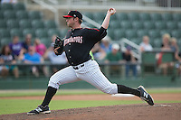 Kannapolis Intimidators relief pitcher Johnathan Frebis (51) in action against the West Virginia Power at Intimidators Stadium on September 6, 2015 in Kannapolis, North Carolina.  The Power defeated the Intimidators 8-3.  (Brian Westerholt/Four Seam Images)