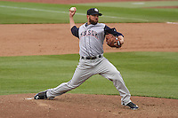 Colorado Springs Sky Sox pitcher David Goforth (33) delivers a pitch during a Pacific Coast League game against the Iowa Cubs on May 11th, 2015 at Principal Park in Des Moines, Iowa.  Colorado Springs defeated Iowa 13-7.  (Brad Krause/Four Seam Images)