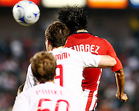 Chivas USA defender, Claudio Suarez(2) and NY Red Bull defender, Hunter Freeman(3) try to win the ball out of the air during the 1st half. Chivas USA  took on the NY Red Bulls on June 28, 2008 at the Home Depot Center in Carson, CA. The game ended in a 1-1 tie...