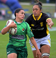 Manawatu Women's Janna Vaughan in action against Wellington Day one of the 2018 Bayleys National Sevens at Rotorua International Stadium in Rotorua, New Zealand on Saturday, 13 January 2018. Photo: Dave Lintott / lintottphoto.co.nz