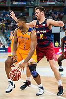 Herbalife Gran Canaria's player Richard Hendrix and FC Barcelona Lassa player Victor Claver during the final of Supercopa of Liga Endesa Madrid. September 24, Spain. 2016. (ALTERPHOTOS/BorjaB.Hojas) NORTEPHOTO.COM