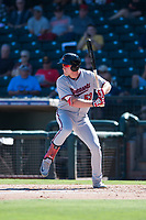 Salt River Rafters left fielder Luke Raley (53), of the Minnesota Twins organization, at bat during an Arizona Fall League game against the Surprise Saguaros on October 9, 2018 at Surprise Stadium in Surprise, Arizona. The Rafters defeated the Saguaros 10-8. (Zachary Lucy/Four Seam Images)