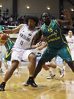 Tall Blacks forward BJ Anthony tries to turn around Nathan Jawai during the International basketball match between the NZ Tall Blacks and Australian Boomers at TSB Bank Arena, Wellington, New Zealand on 25 August 2009. Photo: Dave Lintott / lintottphoto.co.nz