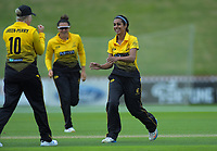 Wellington's Maneka Singh celebrates bowling Auckland's Lauren Down during the women's Hallyburton Johnstone Shield cricket match between the Wellington Blaze and Auckland Hearts at Basin Reserve in Wellington, New Zealand on Sunday, 17 November 2019. Photo: Dave Lintott / lintottphoto.co.nz