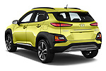 Car pictures of rear three quarter view of a 2018 Hyundai Kona Luxury Launch 5 Door SUV angular rear