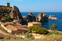 The Tonnara di Scopello [ old Tuna processing factory ] home of writer Gavin Maxwell in the 1950's. Scopello, Castellammare Del Golfo , Sicily.