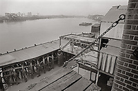 The view of the river from the abandoned Free Trade Wharf.