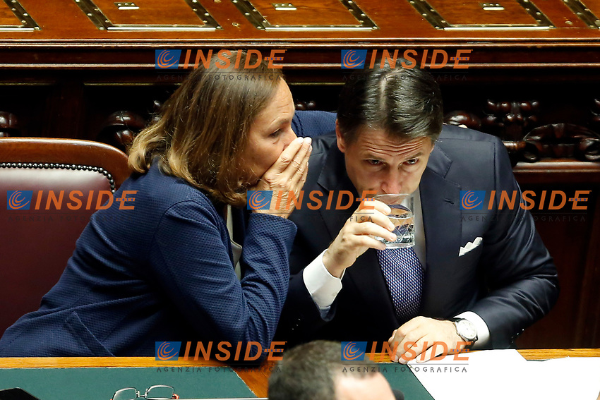 Luciana Lamorgese, Giuseppe Conte<br /> Rome September 9th 2019. Lower Chamber. Programmatic speech of the new appointed Italian Premier at the Chamber of Deputies to explain the program of the yellow-red executive. After his speech the Chamber is called to the trust vote at the new Government. <br /> Foto  Samantha Zucchi Insidefoto