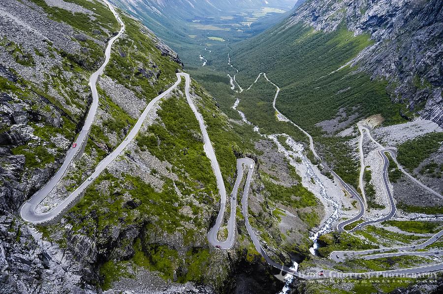 Norway, Rauma. Trollstigen is a serpentine mountain road in western Norway.