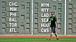 "10 June 2012: Washington Nationals outfielder Bryce Harper warms up in front of the ""Green Monster"" prior to a game against the Boston Red Sox at Fenway Park in Boston, MA. The Nationals defeated the Red Sox 4-3 to sweep their 3-game interleague series. Mandatory Credit: Ed Wolfstein Photo"