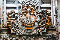 Jatiluwih, Bali, Indonesia.  Stone-carved Decorations, Guardians, Luhur Bhujangga Waisnawa Hindu Temple.