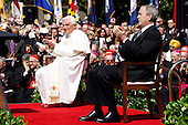 U.S. President George W. Bush (R) and Pope Benedict XVI (L) are seen together on the South Lawn at the White House in Washington, D.C. USA on 16 April 2008. Today is the second day of the pope's visit to the United States.  Today is also  the 81st birthday of the pope.