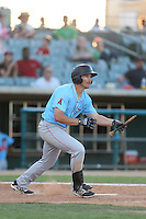 Mark Shannon #4 of the Inland Empire 66ers bats against the Lancaster JetHawks at The Hanger on May 26, 2014 in Lancaster, California. Lancaster defeated Inland Empire, 6-5. (Larry Goren/Four Seam Images)